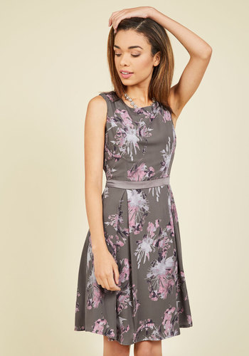 Flair and Back Floral Dress in Fog - Grey, Floral, Print, Work, Daytime Party, Fit & Flare, Sleeveless, Fall, Woven, Better, Mid-length