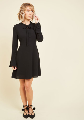 Wear Have You Been All My Life? A-Line Dress - Black, Solid, Work, Casual, Daytime Party, Vintage Inspired, 70s, A-line, Long Sleeve, Fall, Woven, Good, Mid-length, LBD, Girls Night Out