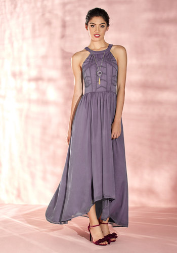 Brave New Whirl Maxi Dress in Lavender by ModCloth - Purple, Solid, Embroidery, Party, Wedding Guest, A-line, Maxi, Woven, Best, Exclusives, Halter, Bridesmaid, Fall, Long, Homecoming, ModCloth Label, Special Occasion, Prom, Wedding, Vintage Inspired, Luxe, High-Low Hem, Fit & Flare, Tank top (2 thick straps), Spring, Summer, Winter, Tea, Chiffon, Sheer, Store 1