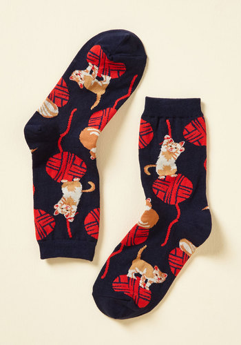 Knit One, Purr Two Socks - Blue, Multi, Print with Animals, Print, Casual, Good, Knit