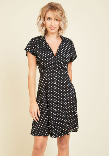 House Show Hostess A-Line Dress in Black Dotted - Black, Polka Dots, Print, Work, Casual, Vintage Inspired, 40s, A-line, Shirt Dress, Short Sleeves, Fall, Woven, Better, Mid-length, Girls Night Out
