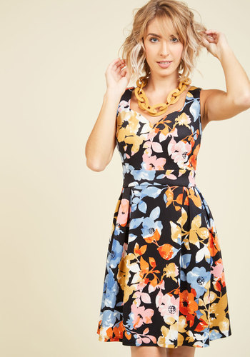Sassed as You Can Floral Dress in Black Blossoms - Blue, Orange, Floral, Print, Daytime Party, Fit & Flare, Sleeveless, Summer, Fall, Better, Exclusives, Knit, Mid-length