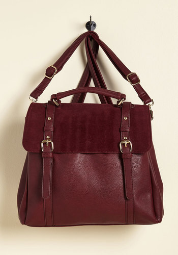 Stop, Rock, and Roll Convertible Bag in Burgundy - Red, Work, Casual, Vintage Inspired, Scholastic/Collegiate, Fall, Better, Store 1