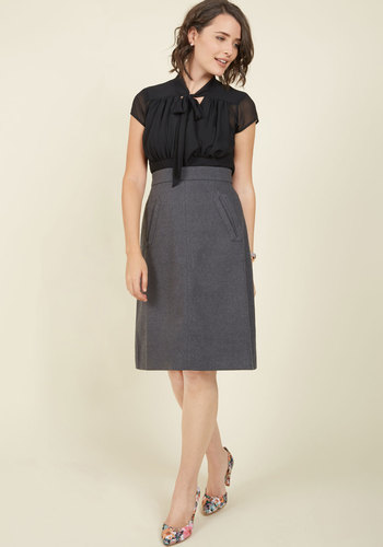 Retro Skirts: Vintage, Pencil, Circle, & Plus Sizes Aptitude for Anthropology A-Line Skirt in Charcoal $69.99 AT vintagedancer.com