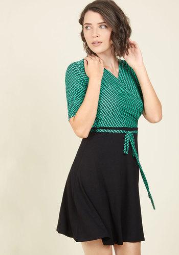 Presentation Coach Jersey Dress in Teal - Green, Black, Print, Geometric, Work, A-line, Wrap, Short Sleeves, Fall, Knit, Better, Twofer, Mid-length
