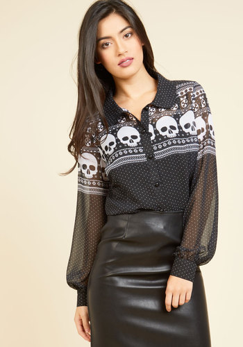 Vintage Retro Halloween Themed Clothing Happy Skull-idays Top $59.99 AT vintagedancer.com
