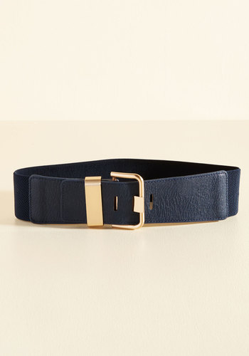 Signature Accessory Belt in Navy - Blue, Gold, Work, Vintage Inspired, Minimal, Solid, Scholastic/Collegiate, Fall, Faux Leather, Better