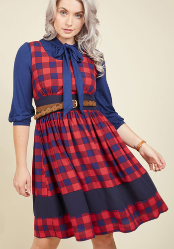 Veggie Patch Picks A-Line Dress in Plaid - Red, Blue, Plaid, Print, Casual, Daytime Party, Americana, Fit & Flare, Sleeveless, Fall, Woven, Better, Mid-length