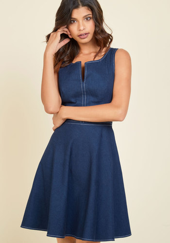 Endlessly Fresh Denim Dress - Blue, Solid, Casual, A-line, Sleeveless, Fall, Denim, Woven, Better, Exclusives, Mid-length, Mod, Store 1