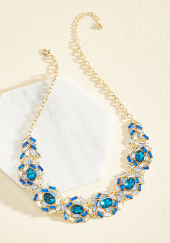 Glamour Out an Agreement Necklace - Blue, Gold, Special Occasion, Fall, Better, Rhinestones, Party, Statement, Gold