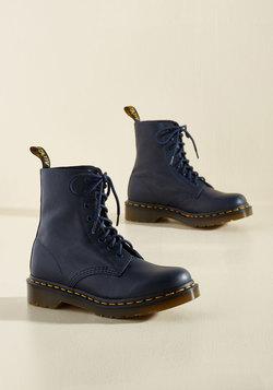March Through Manhattan Leather Boot in Navy