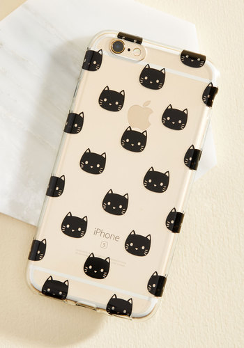 I'm Here for Mew iPhone 6/6s Case - Plastic, Black, Animal Print, Print with Animals, Novelty Print, Print, Quirky, Cats, Critters
