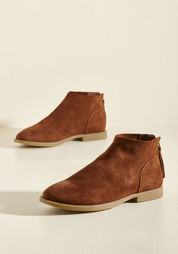 Elemental Everyday Suede Booties in Cinnamon