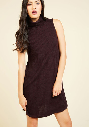 Find the Root Sweater Dress - Purple, Solid, Casual, Sweater Dress, Sheath, Sleeveless, Fall, Winter, Knit, Good, Mid-length, Turtleneck