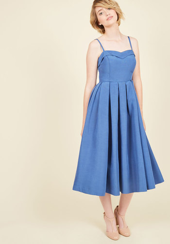 Convivial Connection Midi Dress in Lapis - Blue, Solid, Buttons, Nautical, Vintage Inspired, 50s, Fit & Flare, Sleeveless, Spring, Summer, Woven, Best, Exclusives, ModCloth Label, Halter, Special Occasion, Wedding, Party, Daytime Party, Bridesmaid, Wedding Guest, Long, Sundress, Spaghetti Straps