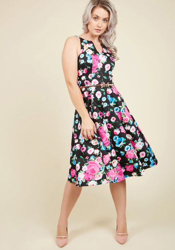 Flaunt a Piece of Me? Floral Dress - Black, Pink, Floral, Print, Daytime Party, Pinup, Vintage Inspired, 50s, A-line, Sleeveless, Summer, Woven, Best