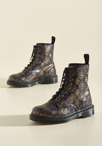 March Through Manhattan Leather Boots in Antique Damask