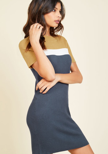 All Things Must Past T-Shirt Dress - Blue, Yellow, Solid, Casual, Colorblocking, Sweater Dress, Bodycon / Bandage, Short Sleeves, Fall, Knit, Good, Short, Work, Mod, Minimal