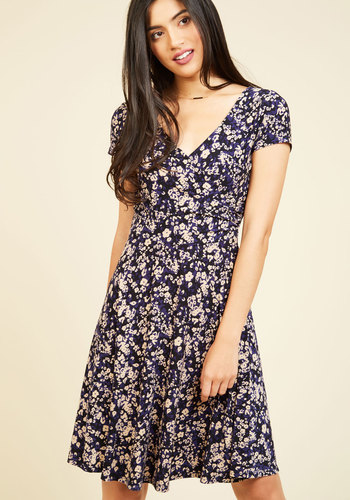 Traveling Treat Floral Dress - Blue, Tan / Cream, Floral, Print, Work, Casual, A-line, Short Sleeves, Fall, Knit, Good, Mid-length, Spring, Summer, Winter, V Neck