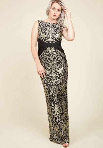 Candlelit Opera Maxi Dress by Adrianna Papell - Gold, Black, Print, Other Print, Embroidery, Special Occasion, Prom, Party, Cocktail, Homecoming, Sheath, Sleeveless, Fall, Winter, Knit, Exceptional, Scoop, Long