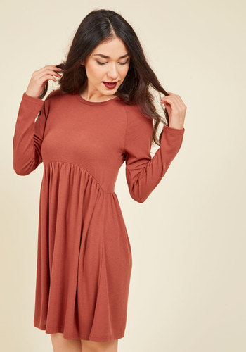 Press Orchard Babydoll Dress - Red, Solid, Casual, A-line, Sweater Dress, Long Sleeve, Fall, Winter, Knit, Better, Short