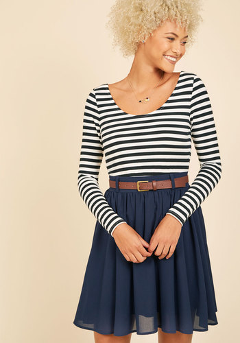 Department Director Long Sleeve Dress - Knit, Multi, Blue, Black, Stripes, Belted, Casual, Long Sleeve, Scoop, Fit & Flare, HP Featured