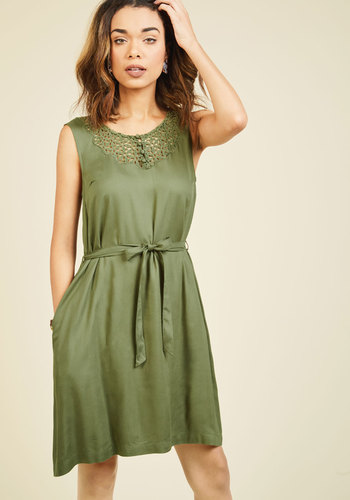 Back in the Seattle A-Line Dress by ModCloth - Green, Solid, Casual, Fall, Lace, Best, Exclusives, Private Label, Summer, Buttons, Crochet, Pockets, Belted, Work, Boho, Safari, 70s, Sleeveless, Woven, Mid-length, A-line, Sheath, Store 2, ModCloth Label, Lace, Tis the Season Sale
