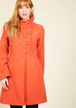 Ruffle Your Weathers Coat in Squash