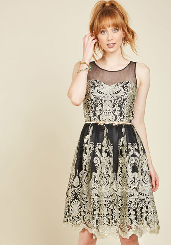 Whimsy of Your Whirl Lace Dress - Gold, Black, Solid, Embroidery, Special Occasion, Party, Fit & Flare, Sleeveless, Woven, Lace, Best, Exclusives, Long, Lace, Holiday Party, Sheer