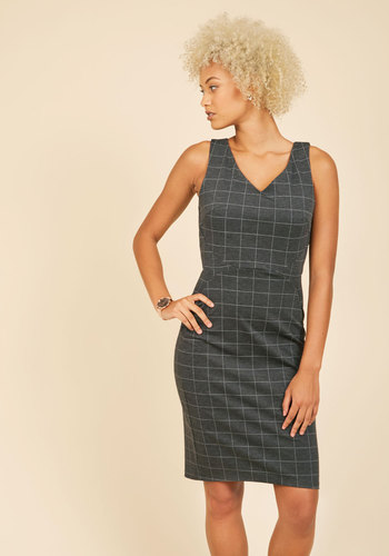 Inspired Entrepreneur Sheath Dress in Grey Grid - Grey, Checkered / Gingham, Print, Work, Pinup, Sleeveless, Fall, Knit, Better, Exclusives, Long