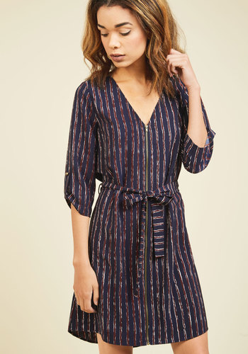 Positive Pen Pal Mini Dress in Striped Navy - Blue, Red, Stripes, Print, Work, Casual, Nautical, Americana, A-line, 3/4 Sleeve, Fall, Woven, Better, Mid-length