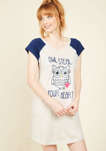 Hoo Do You Love? Nightgown - Cream, Blue, Print with Animals, Print, Casual, Quirky, Critters, Fall, Winter, Good, Cotton, Knit, Best Seller, Best Seller
