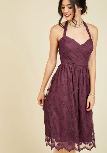 Ladies and Genteel Midi Dress by ModCloth - Red, Solid, Special Occasion, Party, Holiday, Wedding Guest, A-line, Sleeveless, Fall, Exceptional, V Neck, Holiday Party, Lace, Exclusives, ModCloth Label, Prom, Valentine's, Homecoming, Halter, Halter, Woven, Long, Lace, Saturated