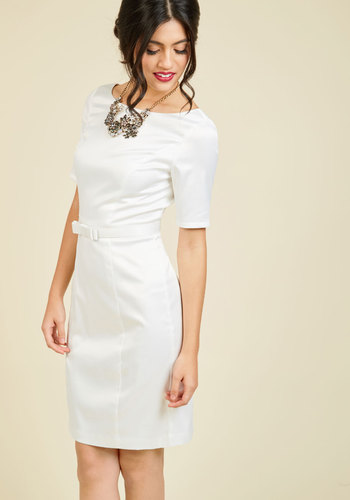 1950s Plus Size Dresses Ritzy Wishes Sheath Dress in White $150.00 AT vintagedancer.com
