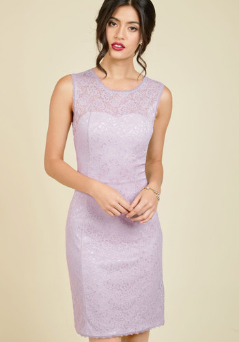 Opulent Opportunity Sheath Dress by ModCloth - Purple, Solid, Special Occasion, Party, Cocktail, Holiday, Holiday Party, Wedding Guest, Shift, Sleeveless, Knit, Lace, Better, Exclusives, Scoop, Mid-length, Lace, Sheer