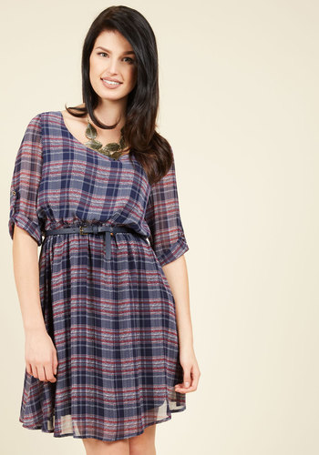Spoken of Gratitude A-Line Dress - Woven, Mid-length, Blue, Red, Plaid, Work, Casual, Rustic, Americana, A-line, 3/4 Sleeve, Fall