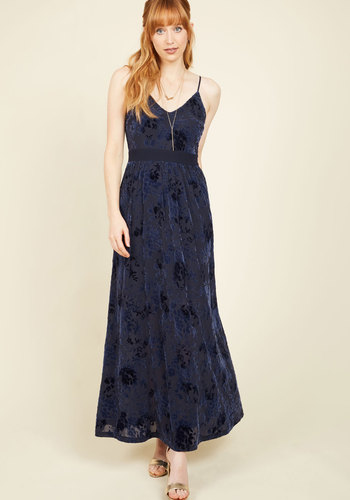 Glam Evening Plans Dress - Blue, Floral, Print, Daytime Party, A-line, Maxi, Sleeveless, Fall, Winter, Knit, Velvet, Better, Long, Party