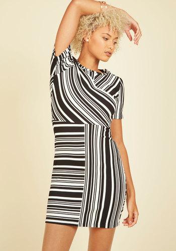 Progressive Prodigy Striped Dress - Black, Stripes, Print, Work, Sheath, Short Sleeves, Fall, Knit, Better, Mid-length