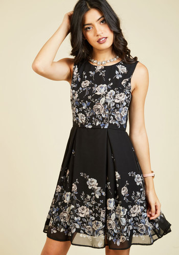 I Rest My Grace A-Line Dress in Black Roses - Black, Grey, Floral, Print, Work, Daytime Party, Fit & Flare, Sleeveless, Fall, Winter, Woven, Better, Exclusives, Mid-length