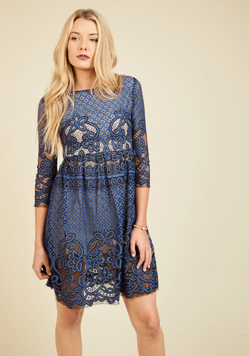 Tea Time Tradition Lace Dress - Woven, Mid-length, Blue, Solid, Party, Work, Daytime Party, Wedding Guest, A-line, 3/4 Sleeve, Fall, Winter, Lace, Better, Crew, Lace