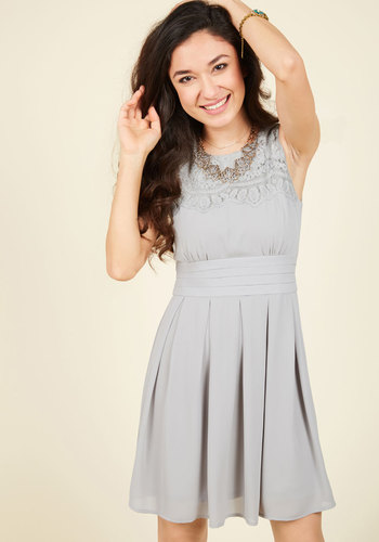 V.I.Pleased A-Line Dress in Stone - Grey, Solid, Daytime Party, A-line, Sleeveless, Fall, Woven, Better, Mid-length, Lace, Lace