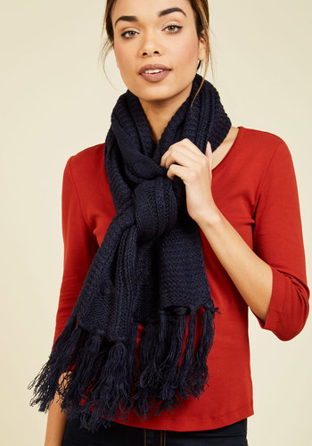 Cable Knit Capability Scarf in Navy - Blue, Fall, Knit, Better, Knitted, Minimal, Winter