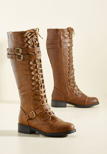 Channeling Classic Boot in Whiskey - Tan, Solid, Buckles, Steampunk, Low, Good, Lace Up, Faux Leather, Casual, Fall, Winter, Variation, Gifts Sale, Knee high