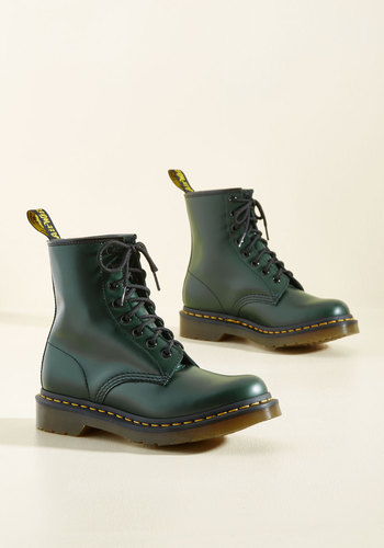 Playing Air Guitar Boot in Forest by Dr. Martens - Low, Leather, Green, Solid, Casual, Military, Vintage Inspired, 90s, Lace Up, Better