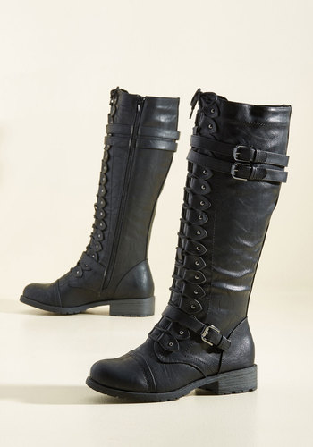 Channeling Classic Boot in Black - Low, Faux Leather, Black, Solid, Buckles, Studs, Military, Steampunk, Good, Lace Up, Variation, Knee high