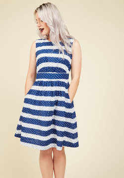 Too Much Fun A-Line Dress in Dotted Stripes