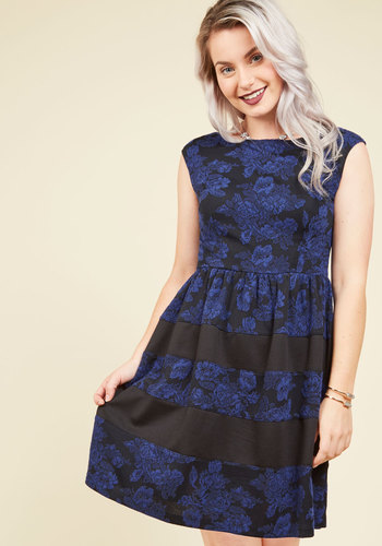A Taste for Textures Floral Dress - Black, Blue, Floral, Print, Work, A-line, Short Sleeves, Fall, Better, Knit