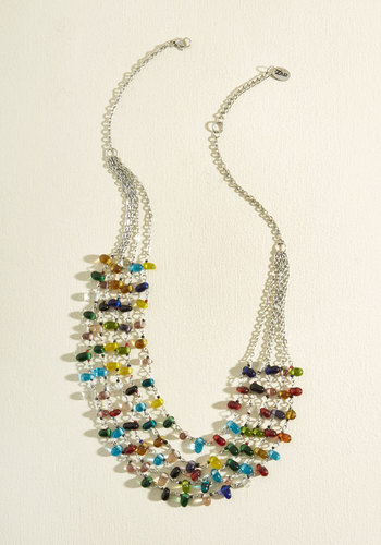 Full Bead Ahead Necklace - Multi, Silver, Casual, Statement, Work, Silver, Store 1, Tis the Season Sale