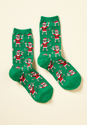 In Primate Condition to Celebrate Socks - Green, Red, Print with Animals, Print, Casual, Holiday, Critters, Fall, Winter, Crew, Cotton, Knit, Critter Gifts, Under 50 Gifts, Under 25 Gifts, Novelty Print, Stocking Stuffers, Holiday Gifts
