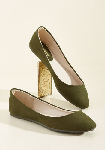 1950sStyleShoes Pop of Pep Flat in Thyme $34.99 AT vintagedancer.com
